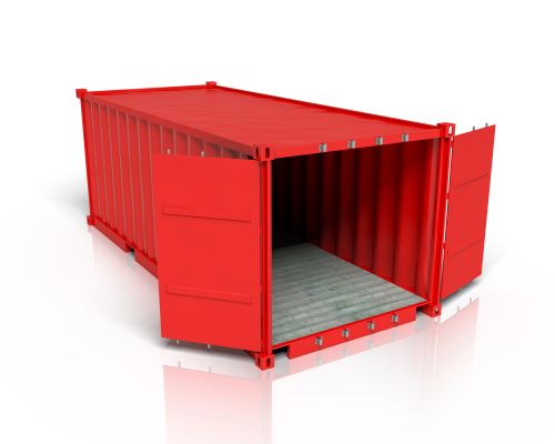 Ein Materialcontainer in rot